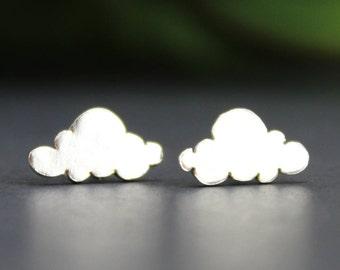 Silver Cloud Earrings, Cloud Jewelry, Nature Jewelry, Tiny Stud Earrings, Dainty Earrings, Bohemian Earrings, Everyday Earrings, Pilot Gift