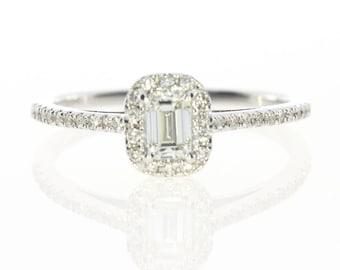 Diamond Engagement Ring, Diamond Band Statement Ring, Unique Diamond Ring, 14k White Gold, Diamond Ring, Free Shipping