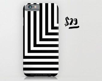 Black and White L Stripe Phone Case