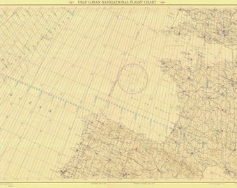Azores to Berlin Map - 1948 USAF Chart