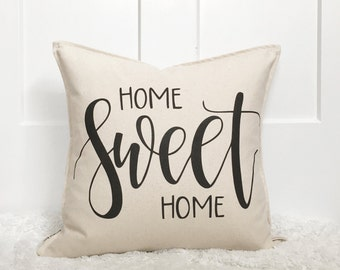 """18"""" Home Sweet Home Pillow Cover - Hand Lettered Design - SalvagedChic Market Collaboration - Housewarming Gift - Made to Order"""