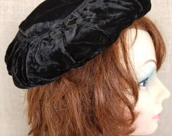 Vintage Black Velvet Women's Hat