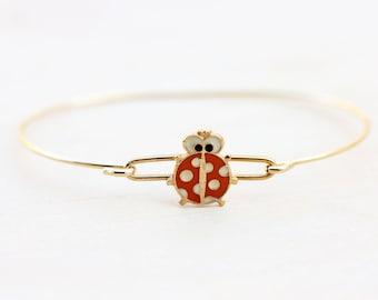 Ladybug Bracelet, Red Ladybug Bracelet, Hook Bracelet, Enamel Bracelet, Gold Wire Bracelet, Bug Bracelet, Lucky Bracelet, Small Bracelet