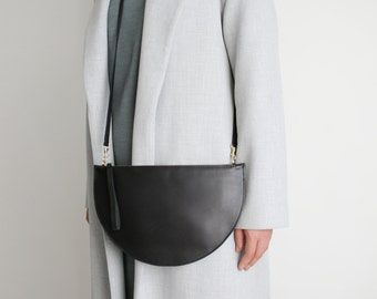 Half Moon Crossbody Bag Black, Wristlet Clutch, Clutch, Bridal Bag, Leather Clutch, Evening Bag, Leather Purse