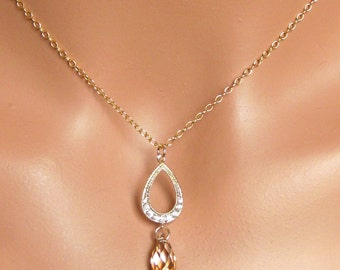 Golden Shadow Gold Champagne Bridal Necklace Bridal Jewelry Bridesmaids Gift Bridal Party Gift