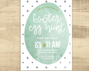 Easter Egg Hunt Invitation, Vintage Easter Brunch, modern Egg Hunt PRINTABLE Party Invitation, Spring Invitation, Easter Brunch Invitation