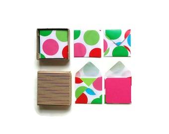 Mini Stationery Set - Green Red Blue Polka Dots Envelopes