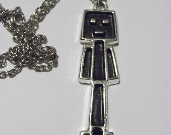Robot Necklace / Silver Man Necklace / 1970s Necklace from CarnivalofFASHION