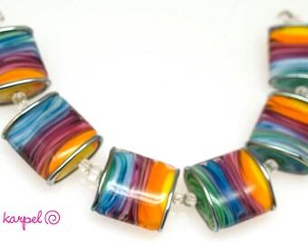 Colorful pillow lampwork beads SRA MTO set of 6,glass beads, Handmade lampwork glass beads, jewelry supplies artisan glass beads