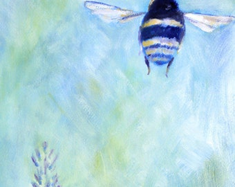 Blue  Bumble Bee Art Print of Original Painting by Claire Whitehead