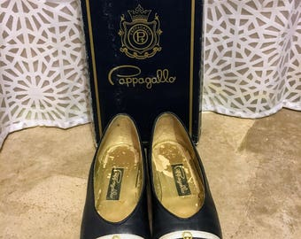 Vintage Pappagallo Navy Leather Anchor Flats sz 7/7.5
