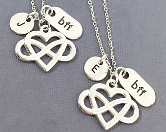 Set of 2 Personalize BFF Friendship Necklace,BFF necklace, best friend charm, matching friend necklace, gift BFF Best Friend Necklace Gift