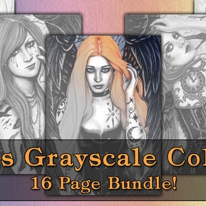 GRAYSCALE Coloring Book Pages PRINTABLE Digital Download Gothic Angels Art Women Tattoos Fantasy Portraits Adult
