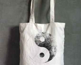 Yin Yang bag, Canvas Bag, Grocery Bag, Screen printed bag, Reusable Tote Bag, Shoulder purse