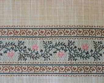 Wonderful 1970s curtain fabric, twine border, original vintage