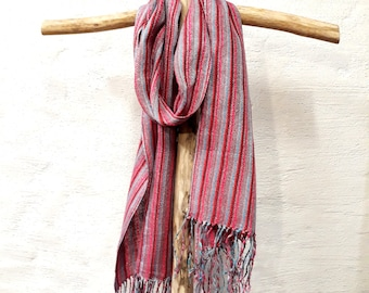 Hand Woven Linen Scarf Red Blue Grey Scarf Gift for Women