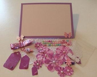 Clearance Sale / Pink and Purple Scrapbooking Embellishment Kit