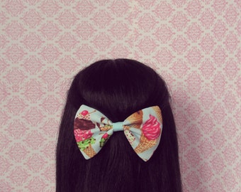 Ice Cream Dream Hair Bow in Blue - French Barrette, Big Ice Cream Print Hair Bow, Summer Hair Accessory