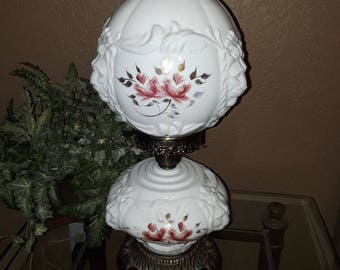Gone with the wind vintage 3-WAY puffy floral lion globed milk glass hurricane lamp