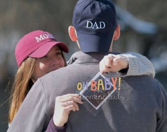 Pregnancy Announcement Baseball Caps, MOM and DAD hats, Gender Reveal Baseball Caps