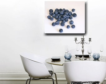 Kitchen canvas art, modern dining room decor, fruit wall art, blueberries canvas print, large wall art, food canvas, cafe decor, foodie art