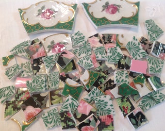 Broken China mosaic tiles~~Handcut TiLes~~SWeeT PiNKs and GReeNs