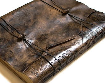 Leather GuestBook, Leather Photo Album, Rustic Guest Book, Wedding  Guest Book alternative, Extra Large, Summum Meditatio A3 size