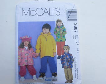 McCalls 3387 Toddler's and Children's Jackets, pullover top, pull-on pants and hat Uncut Sewing Pattern Sizes 4, 5, 6