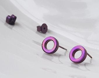 Titanium studs   Geometric studs   non-allergenic earrings   titanium earrings   non-allergenic studs   Purple studs   Allergy free titanium