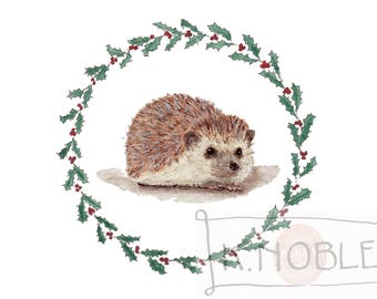 Hedgehog Holiday Card with Holly Border