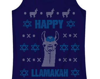 Happy Llamakah Llama Hanukkah Ugly Sweater Women's Racerback Tank Top - Burnout Racerback Tank Top