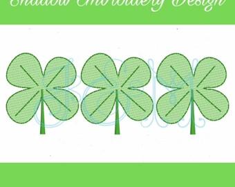 St. Patrick's Day Shamrock Trio Shadow Machine Embroidery Design 5x7