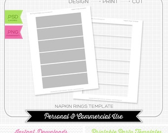 Napkin Rings Template - INSTANT DOWNLOAD - PRINTABLE - diy party printables