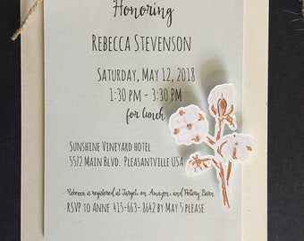 """Raw Cotton Themed  Invitation; Bridal Shower, Rehearsal Dinner, Birthday Party, Special Occasion 5"""" x 7"""":  die cut cotton, 3d; set of 6"""