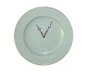 SILENT Modern Clock 9 Inches, Stoneware Plate Clock, Minimalist Wall Clock, Unique Wall Decor, Kitchen Clock, Mint Green Kitchen Decor  2364