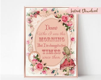 Alice in Wonderland Print - Digital Print - Wonderland Quote - Wonderland Different Person Quote - Wonderland Printable - Alice Gift