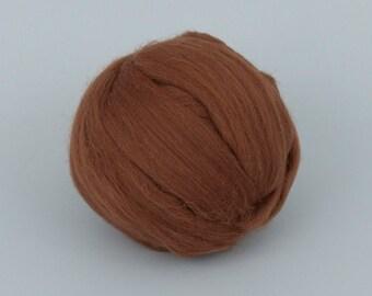 Caramel B177, 24mic, 1.78oz (50gr) tops merino wool,  for needle felting, wet felting, spinning. 100% wool.