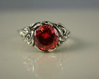 Size 5, Sterling Silver, Rose Ring, Flaming Orange CZ