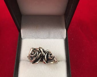 Rose ring with double flowers , sterling .