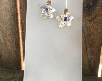 Sterling Silver Amethyst Flower Earrings