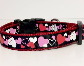 """Valentine's Dog Collar, 3/8"""" or 3/4"""" wide Valentine's Day Collar, Hearts, Designer Dog Accessories, Pet Accessories, Gift"""