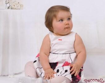 Baby cerimonial dress in ecru/pink/black
