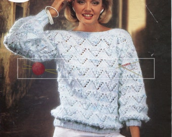 "Lady's Sweater 32-38"" Chunky Sirdar 6618 Vintage Knitting Pattern PDF instant download"