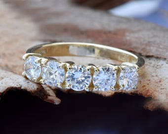 1 carat Diamond Eternity Band-Wedding band-Diamond Band-Anniversary Gift - Half eternity Ring-Minimalist ring-Art deco ring-Anillo de bodas
