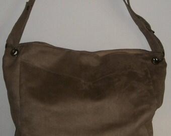 Brown suede with adjustable shoulder strap bag