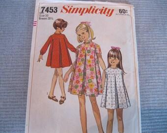Simplicity Pattern # 7453 Girls Size 10 Dress / Tent Dress
