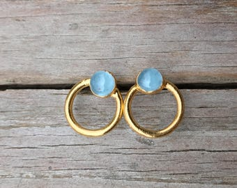 Aquamarine stud earrings / Small aquamarine earrings / Genuine aquamarines / March birthstone / Blue gemstone earrings / Gift for wife / Her