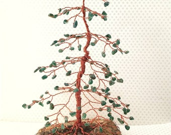 Nature Gifts, Crystal Home Decor, Wire Tree Sculpture, Pine Gem Tree, Green Aventurine Gems, Tree of Life, Gemstone Tree, Feng Shui Decor