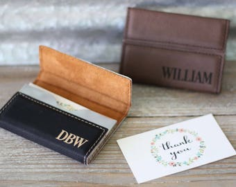 Engraved card holder etsy custom engraved leather business card holder personalized card case corporate gifts boss gift reheart Images
