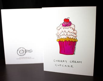 "5.5""x4"" Cherry Cream Cupcake Greeting Card"